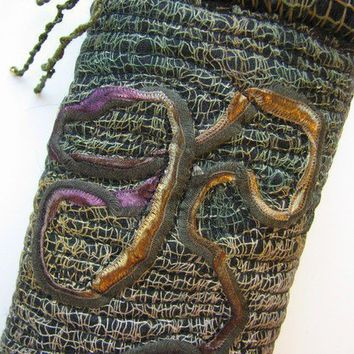 Eyeglass Pouch Black Green Gold OOAK