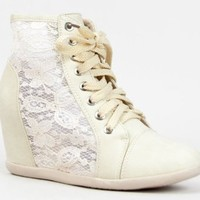 Nature Breeze DANA-12 Lace Detailed Lace Up High Top Wedge Heel Sneaker Shoe