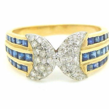 Vintage Art Deco Revival 18K Yellow Gold 2.03 Carat Sapphire and Diamond Ring