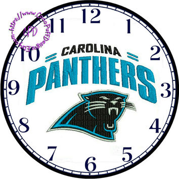 """Carolina Panthers Sports Team Art - -DIY Digital Collage - 12.5"""" DIA for 12"""" Clock Face Art - Crafts Projects"""