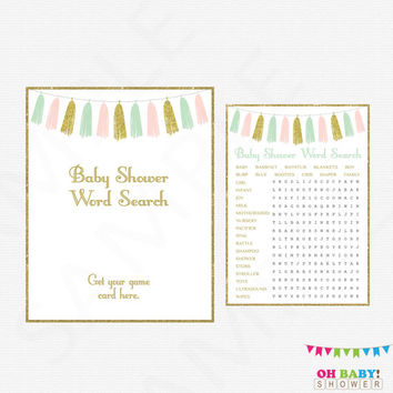 Pink Mint Gold Baby Shower, Word Search Game, Crossword Puzzle, Girl Baby Shower Games, Printable Baby Shower, Pink Mint Gold Tassels TASPMG