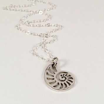 Sterling Silver Sea Shell Charm with Dainty Sterling Chain