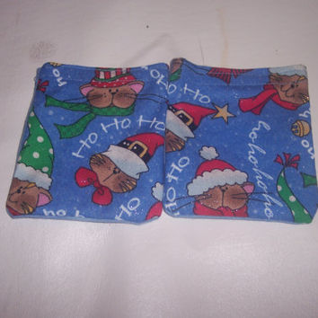 Rice Bag Handwarmers Microwave Set of 2 Cartoon Christmas Cats, Kittys in Santa Hats, Ho Ho Ho