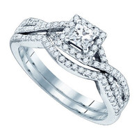 Diamond Bridal Ring with 0.27ctw Center Princess Stone in 14k White Gold 0.66 ctw