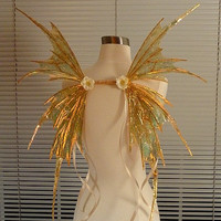 Golden Fairy Wings with Floral Circlet-(Made to Order by Request)