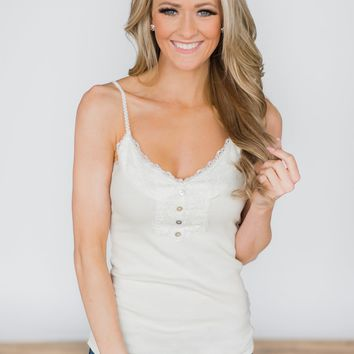 Lace Trimmed Layering Tank Top- White