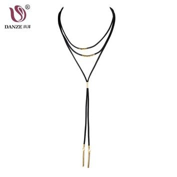 Danze 5 Styles Multilayer Long Leather Chain Choker Necklaces For Women Bohemian Tassel Bar Pendant Collar Jewelry Colliers