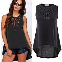 Hollowed Out Sleeveless Blouse