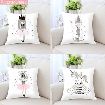 Nordic Style Pink Girls Cushion Covers Kids Decoration Mermaid Rabbit Flamingo Print Pillow Case Home Bedding Set Modern Design