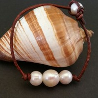 3 Freshwater Pearl and Natural Leather bracelet by Seasidpearls30a