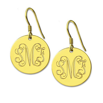 Freeshipping--Personalized Round Monogram Earrings Silver Engraved Monogrammed   Initials Earrings 3 Letter Nameplate Earring