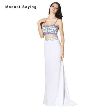 Sexy Ivory Mermaid Sweetheart Crop Top Beaded Prom Dresses 2017 with Rhinestone Girls Long Party Prom Gowns vestidos de novia