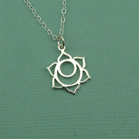 Sacral Chakra Necklace - sterling silver hindu yoga necklace - buddhist jewelry - gift