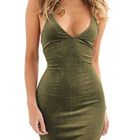 Womens Spaghetti Strap Bodycon Sleeveless Backless Velvet Sexy Short Club Dress