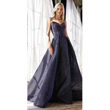 Long Strapless Ball Gown Midnight Blue Glitter Finish Lace Up Corset Back