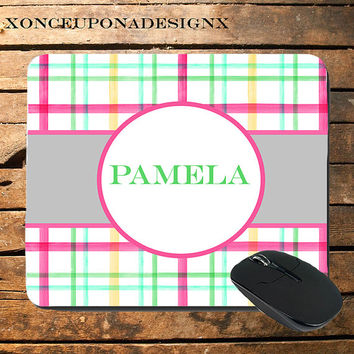 Personalized Monogram mousepad monogrammed mouse pad plaid mouse pad personalized computer mouse pad