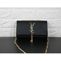 YSL Tassel Women Shopping Leather Metal Chain Crossbody Satchel Shoulder Bag Black I-MYJSY-BB