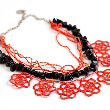 Chunky Onyx Necklace Layered Chic Poppy Vermilion Black Crochet Lace Light Red Statement Unique Boho Chic Jewelry Ottoman Iznik Tile