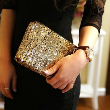 NEW Womens Fashion Sparkling Sequins Clutch Evening Party Bag Handbag Tote Purse