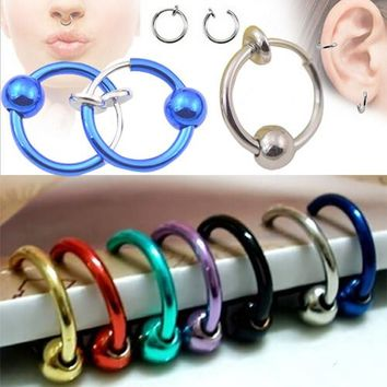 2 pieces Colorful Fake Nose Ring Lip Ear Nose Clip On Fake Piercing Nose Lip Hoop Rings Earrings Golden Rose Ball body jewelry