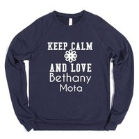 Keep Calm And Love Bethany Mota-Unisex Navy Sweatshirt