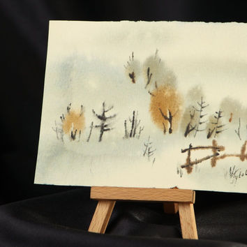 Watercolor painting Winter handmade eco friendly home decoration original gift