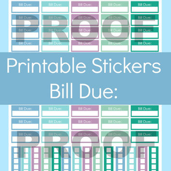 Erin Condren Printable Stickers, Erin Condren Budget, Bill Due Stickers, Bill Tracker Stickers, Stickers for Planner, Stickers Erin Condren