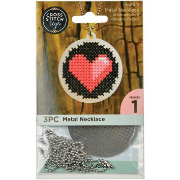 Metal Necklace Punched For Cross Stitch-Circle W/ Ball Chain