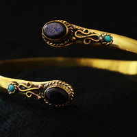 Blue SandStone Brass armlet Vintage styled Brass by Indianroute