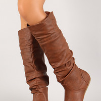 Folded Cuff Slouchy Mid Calf Boot