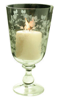 Victorian trading Co. Elizabethan Rose Hurricane Glass Candle Holder or Vase