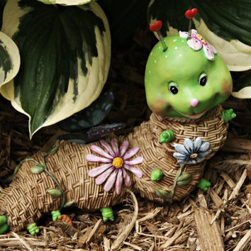 Garden Decor, Hand Painted Resin Figurine, Caterpillar Lawn Ornament