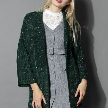 Mottled Chunky Knit Cardigan in Dark Green