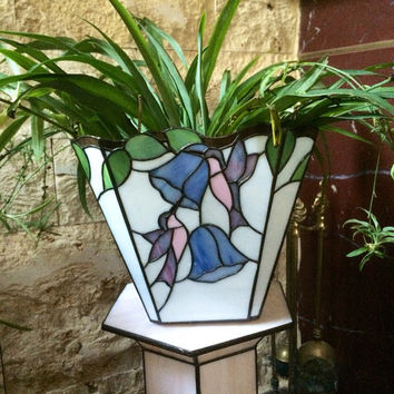 Decorative plant pot, garden decor, Tiffany glass decor, glass flower pot, art flower pot, stained glass garden decor, luxurious flower pot