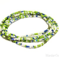 Stretch Bracelets, Set of Five, Green Blue White, Seed Bead Stretchy Jewelry