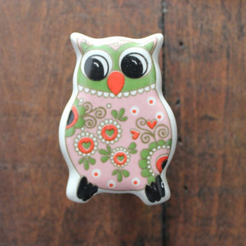 Cute Owl Drawer Knobs - Furniture Knobs with fun colors (CK58)