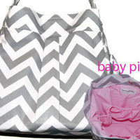 Girl or Boy Diaper Bag in Grey and White CHEVRON with Baby Pink lining