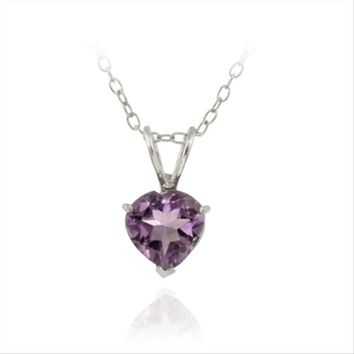 Sterling Silver Amethyst 7mm Heart Solitaire Necklace