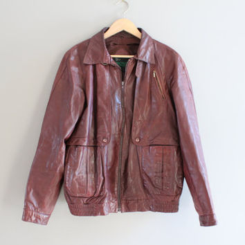 Burgundy Brown Leather Jacket Premium Genuine Leather Bomber 80s 90s Unisex Soft Leather Jacket  Vintage  Size M - L