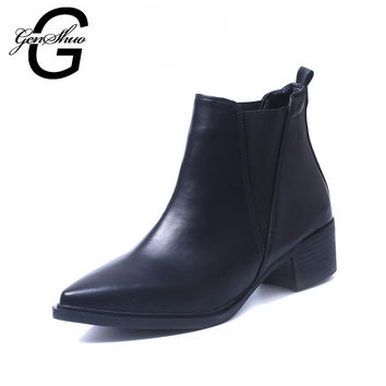 GENSHUO Winter Warm Ankle Boots Women's Fashion Boots Female Pointed Toe Chunky Heels Large Size Chic Solid Clearance Sale