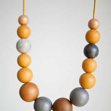 Mustard yellow dark grey large wood necklace, color block large bead necklace fashion, long leather cord