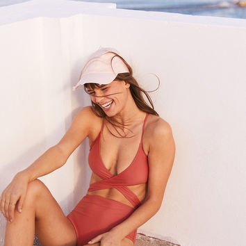 Aerie Wraparound One Piece Swimsuit, Red