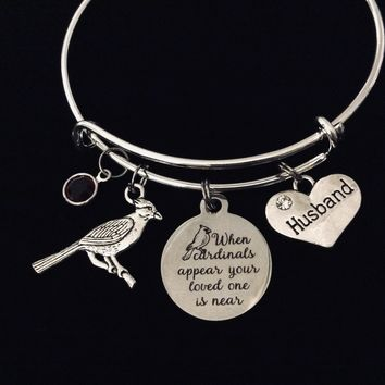 Husband Memorial When Cardinals Appear a Loved One is Near Adjustable Charm Bracelet Expandable Silver Bangle One Size Fits All Gift