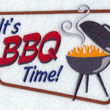 It's BBQ Time Retro Embroidered BBQ Apron Father's Day Gift, Birthday Gift, Host Gift