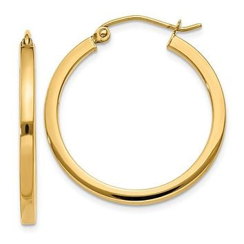 14K Yellow Gold 2mm Square Tube Hoop Earrings