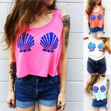 Fashion Casual Shell Print Round Neck Sleeveless Vest T-shirt Crop Top
