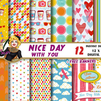 Colorful Day digital paper,hearts,dots,stripes,clowds,clipart banners, kids birthday, invitations, Scrapbooking Paper, patterns, backgrounds
