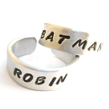 Batman and Robin ring set, quote, aluminum rings. Friendship ring, Best Friends, Couple Ring.. Hand Stamped, Aluminum Rings.