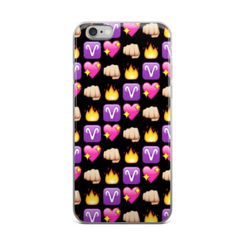 Aries Fire Punch Fist & Pink Heart Emoji Collage Zodiac Cute Girly Black iPhone 4 4s 5 5s 5C 6 6s 6 Plus 6s Plus 7 & 7 Plus Case