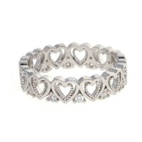 Dear Deer White Gold Plated Open Solid Heart Cubic Zirconia Cocktail Ring